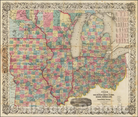 Historic Map - Guide Through Ohio, Michigan Indiana, Illinois, Missouri, Wisconsin & Iowa. Showing Township Lines of the United States Surveys, 1855 - Vintage Wall Art