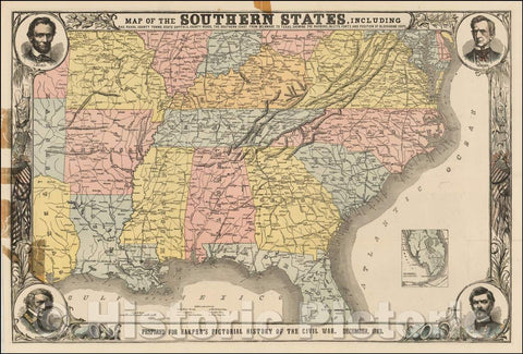 Historic Map - Map of the Southern States, Including Rail Roads, County Towns, State Capitals, County Roads, The Southern Coast From Delaware To Texas, 1863 v2