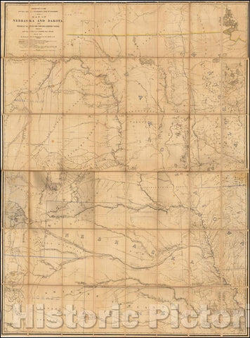 Historic Map - Map of Nebraska and Dakota, and Portions of the States and Territories, 1867, G.K. Warren - Vintage Wall Art