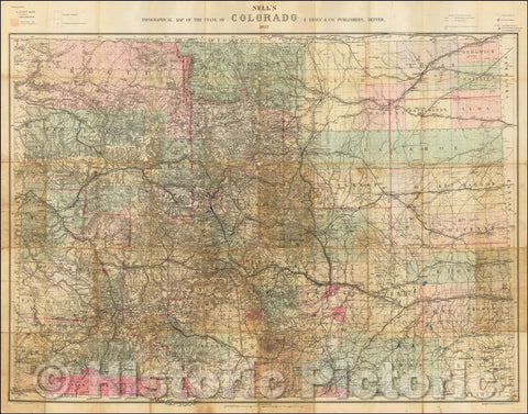 Historic Map - Nell's Topographical & Township Map of the State of Colorado. E. Besly & Co. Publishers, Denver, 1892, Louis Nell - Vintage Wall Art