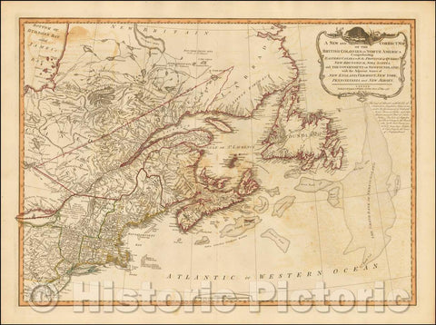 Historic Map - Tthe British Colonies in North America Comprehending Eastern Canada with Adjacent States of New England, Vermont, New York, 1794 - Vintage Wall Art