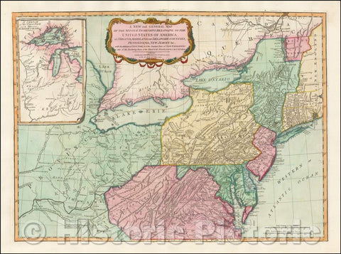 Historic Map - Middle Dominions Belonging to the United States of America, viz. Virginia, Maryland, The Delaware-Counties, Pennsylvania, 1794 v2
