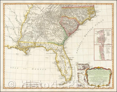 Historic Map - A New and General Map of the Southern Dominions Belonging to The United States of America, viz North Carolina, South Carolina, and Georgia, 1794 v3