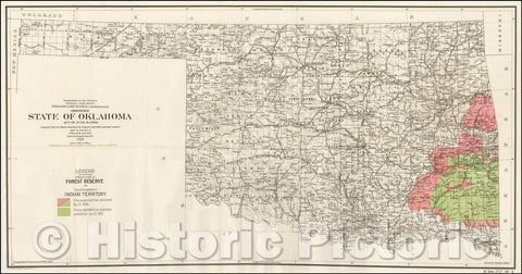 Historic Map - Proposed State of Oklahoma Act of June 16, 1906, 1906, U.S. General Land Office - Vintage Wall Art
