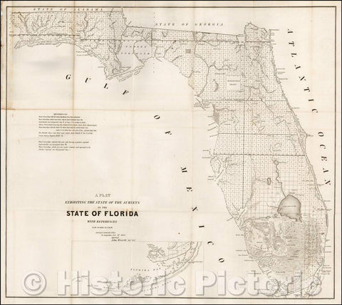 Historic Map - A Plat Exhibiting The State of the Surveys in the State of Florida, 1854, U.S. Surveyor General - Vintage Wall Art