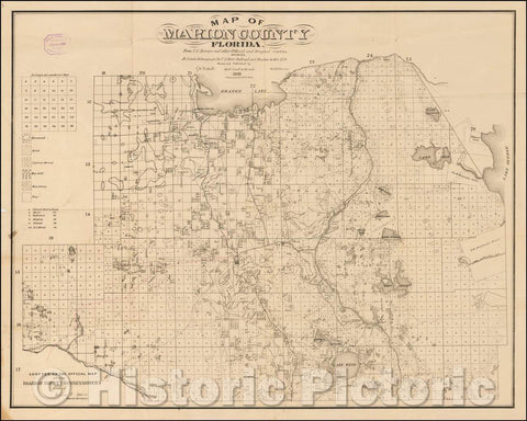 Historic Map - Map of Marion County, Florida. From U.S. Surveys and Other Official Sources Showing All lands belonging to the U.S. State Railroad, 1885 - Vintage Wall Art
