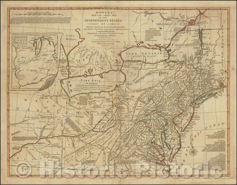 Historic Map - Bowles's New Independent States of Virginia, Maryland, Delaware, Pensylvania, New Jersey, New York, Connecticut & Rhode Island, 1796 - Vintage Wall Art