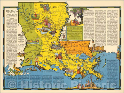 Historic Map - Louisiana The Pelican State, 1941, R.T. Aitchison v2