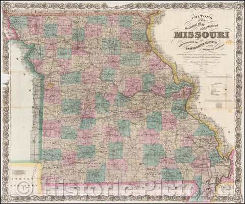 Historic Map - Colton's New Sectional Map of the State of Missouri, 1872, G.W. & C.B. Colton - Vintage Wall Art