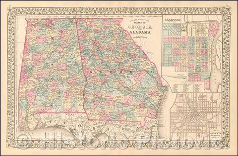 Historic Map - County Map of the States of Georgia and Alabama [Insets of Atlanta and Savannah], 1880, Samuel Augustus Mitchell Jr. v2