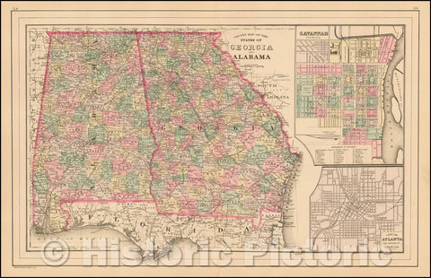Historic Map - County Map of the States of Georgia and Alabama, 1872, Asher - Vintage Wall Art