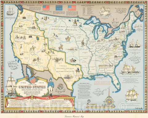 Historic Map - United States Showing Boundaries Established After The Louisiana Purchase and Florida Acquisition, 1958, Karl Smith - Vintage Wall Art