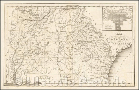 Historic Map - Map of the States of Alabama and Georgia [Inset Plan of Savannah], 1832, Hinton, Simpkin & Marshall - Vintage Wall Art