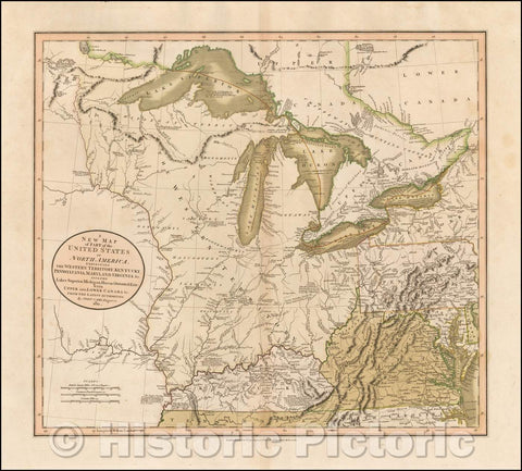 Historic Map - A New Map of Part of the United States of North America, Exhibiting The Western Territory, Kentucky, Pennsylvania, Maryland, Virginia, 1811 v1