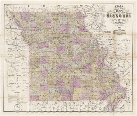 Historic Map - Fiala and Haren's New Sectional Map of the State of Missouri, 1865, John T Fiala - Vintage Wall Art