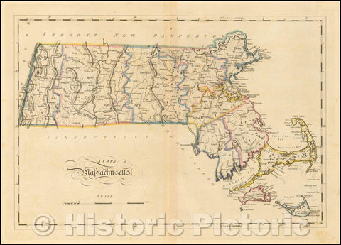 Historic Map - The State of Massachusetts, 1814, Mathew Carey - Vintage Wall Art