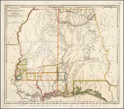 Historic Map - The State of Mississippi and Alabama Territory, 1818, Matthew Carey v1