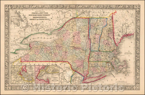 Historic Map - County Map of the States of New York, New Hampshire, Vermont, Massachusetts, Rhode Id. And Connecticutt, 1865, Samuel Augustus Mitchell Jr. v1