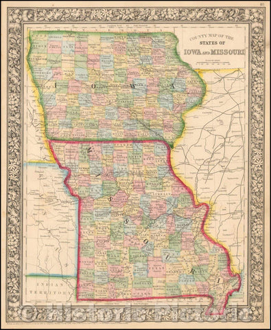 Historic Map - County Map of the States of Iowa and Missouri, 1865, Samuel Augustus Mitchell Jr. - Vintage Wall Art