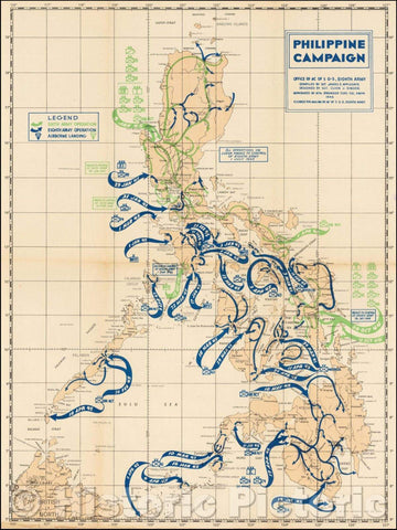 Historic Map - World War II Map of the Philippine Islands, 1945, U.S. Army - Vintage Wall Art
