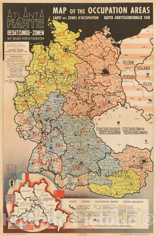 Historic Map - of the Occupation Areas :: depicts Germany and Central Europe in the immediate wake of World War II, Potsdam Conference,Berlin, 1945, 1945 - Vintage Wall Art