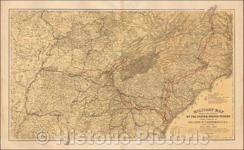 Historic Map : Military map showing the marches of the United States Forces 1863-1865. - Vintage Wall Art