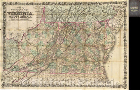 Historic Map - Colton's New Topographical Map of the States of Virginia, West Virginia, Maryland & Delaware and Portions of other Adjoining States, 1881 - Vintage Wall Art