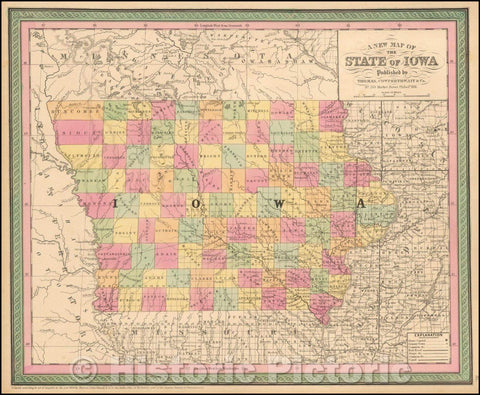 Historic Map - The State Of Iowa, 1854, Thomas, Cowperthwait & Co. - Vintage Wall Art