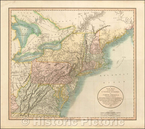 Historic Map - Part of the United States of North America Containing New York, Vermont, New Hampshire, Massachusets, Connecticut, Rhode Island, Pennsylv, 1806 v2