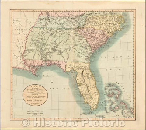 Historic Map - A New of Part of the United States of North America Containing The Carolinas And Georgia. Also The Floridas And Part Of The Bahama Islands, 1806 v1