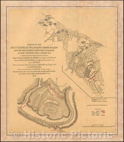 Historic Map - Sketch of the Battlefield of Logan's Cross Roads and of the Enemys Fortified Position at and Opposite Mill Spring KY, 1877, Nathaniel Michler - Vintage Wall Art
