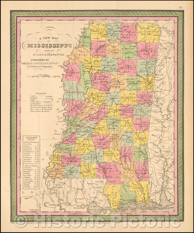Historic Map - The State Of Mississippi with its Roads & Distances, 1852, Thomas, Cowperthwait & Co. - Vintage Wall Art