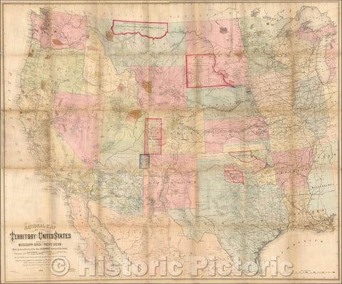 Historic Map - National Map of the Territory of the United States From The Mississippi River To The Pacific Ocean, 1867, William Keeler - Vintage Wall Art