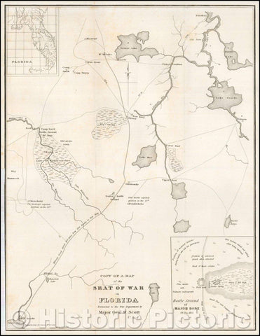 Historic Map - Copy Of Seat of War in Florida Forwarded to the War Department, 1836, United States GPO - Vintage Wall Art