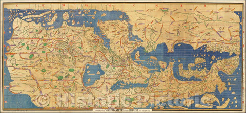 Historic Map - Charta Rogeriana Weltkarte des Idrisi vom Jahrn 1154 n. Ch. / Al-Idrisi Map of the World - 1154 A.D, 1926, Konrad Miller - Vintage Wall Art