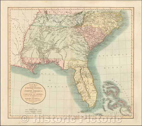 Historic Map - A New of Part of the United States of North America Containing The Carolinas And Georgia. Also The Floridas And Part Of The Bahama Islands, 1806 v2