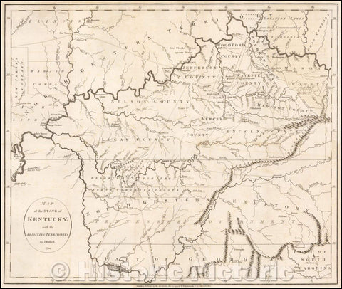 Historic Map - Map of the State of Kentucky with the Adjoining Territory, 1794, John Russell - Vintage Wall Art