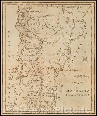 Historic Map - The State of Vermont, 1795, Joseph Scott - Vintage Wall Art