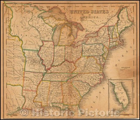 Historic Map - United States of America (massive Iowa Territory), 1838, Henry Schenk Tanner - Vintage Wall Art