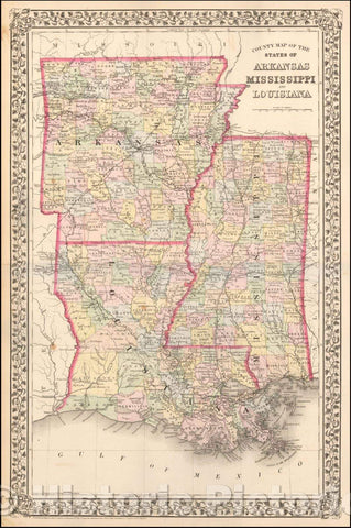 Historic Map - County Map of the States of Arkansas, Mississippi, and Louisiana, 1872, Samuel Augustus Mitchell Jr. - Vintage Wall Art