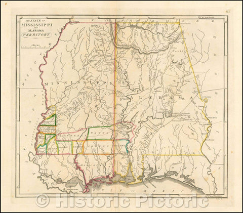 Historic Map - The State of Mississippi and Alabama Territory, 1818, Matthew Carey v2