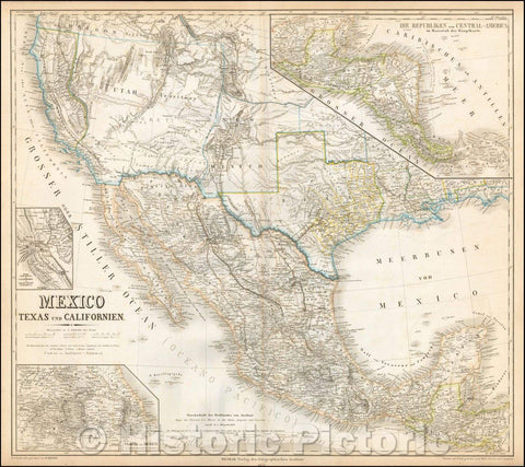 Historic Map - Mexico, Texas und Californien (Shows the Mormon State of Deseret!), 1852, Heinrich Kiepert - Vintage Wall Art