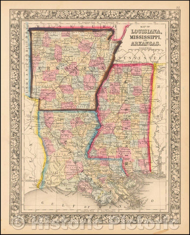 Historic Map - County Map of the States of Arkansas, Mississippi, and Louisiana, 1864, Samuel Augustus Mitchell Jr. - Vintage Wall Art