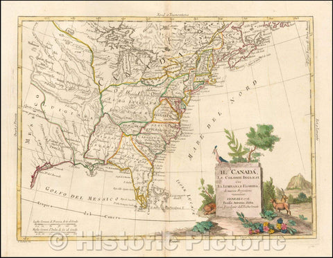 Historic Map - [United States] Il Canada Le Colonie Inglesi Con La Luigiana E F :: United States and Canada, Upper and Lower English Colonies of Louisiana, 1778 - Vintage Wall Art
