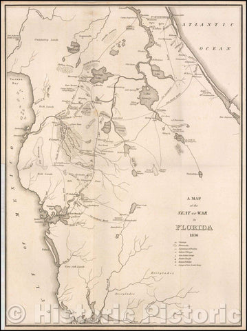 Historic Map - Seat of War in Florida, 1836, American State Papers v1