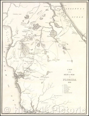Historic Map - Seat of War in Florida, 1836, American State Papers v2
