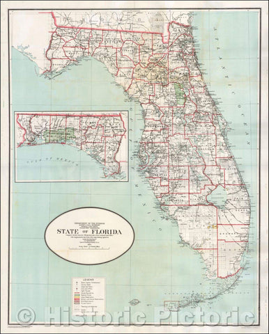 Historic Map - State of Florida, 1923, General Land Office - Vintage Wall Art