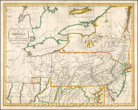 Historic Map - Map of the Middle States of America. Comprehends New-York, New-Jersey, Pennsylvania, Delaware and the Territory N.W. of Ohio, 1794, John Russell - Vintage Wall Art