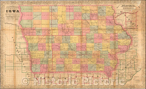 Historic Map - A Township Map of the State of Iowa, 1856, Henn, Williams & Co. - Vintage Wall Art