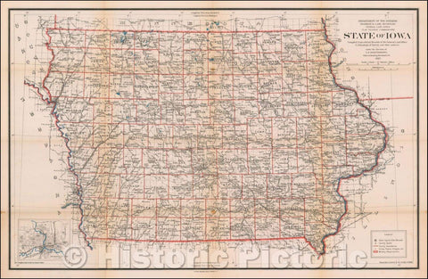 Historic Map - State of Iowa, 1917, U.S. General Land Office - Vintage Wall Art